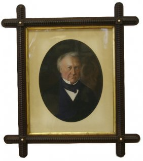 FRAMED 19TH OR 20TH CEN PAINTED PORTRAIT ON PAPER