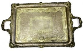LARGE SILVER PLATED COCOLOBO CAY PRESENTATION TRAY