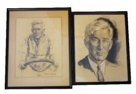 TWO FRAMED & SIGNED DRAWINGS OF GAR WOOD