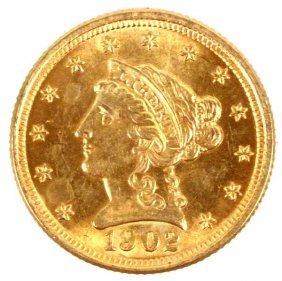 1902 GOLD LIBERTY QUARTER EAGLE $2.50 COIN