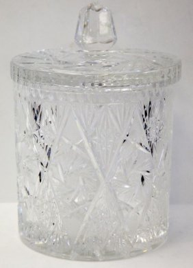 Hand Cut Lead Crystal Ice Bucket With Lid Lot 2110