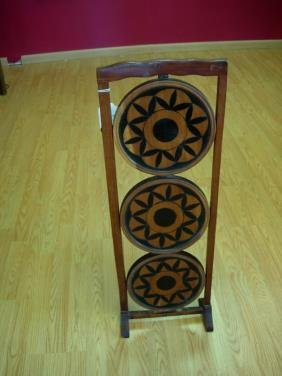 11243 Antique Pie Stand Folding Wood Three Tier Pie S