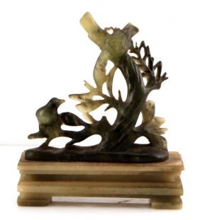 Chinese Serpentine Bird Carving 4.5 Inches Tall