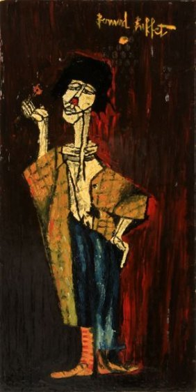 Follower Of Bernard Buffet Clown Oil On Board