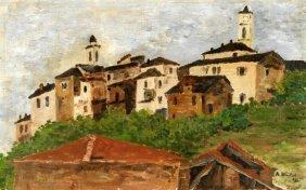 Aldo Nicolini 1961 Painting On Panel Landscape