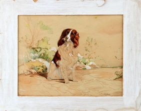 A Turner Irish Setter Gouache Painting 15 By 11.5""