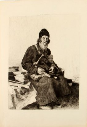 Lay Brother Etching By Eugene Decisy 1890's