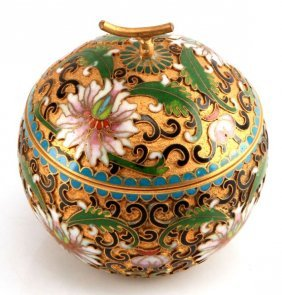 Gilded Chinese Cloisonne Apple Trinket Box