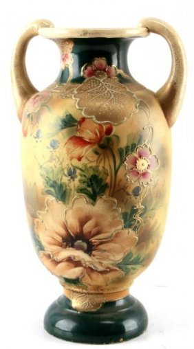 Japanese Satsuma Hand Painted Floral Vase