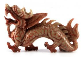 Carved Red And Green Jade Dragon Sculpture