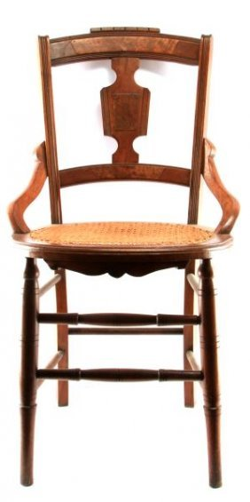 Mahogany And Walnut Chair With Woven Cane Seat