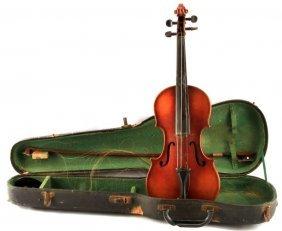 Vintage Violin With Case And Bow Strad Copy
