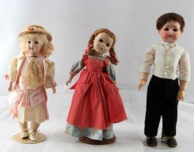 3 Vintage Handpainted Porcelain Dolls Simon Halbig