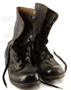 Wwii Us Named Combat Boots Black Leather Size 9.5