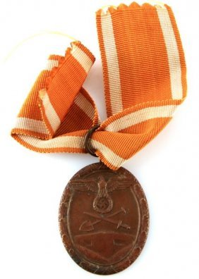 Wwii Third Reich German West Wall Medal W/ Ribbon
