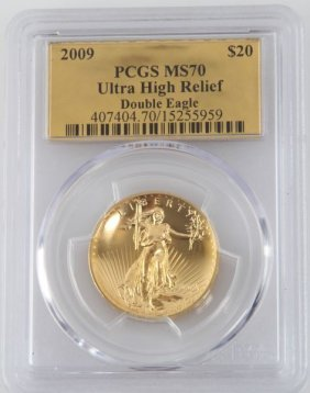 2009 Ultra High Relief Double Eagle Gold Coin Ms70