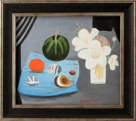 In Manner Of Mary Fedden Still Life Painting