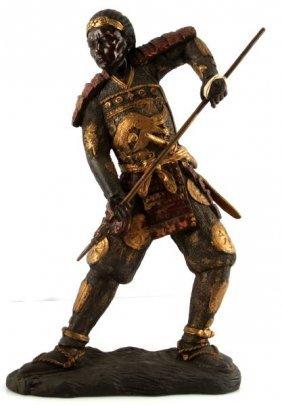 Meiji Period Japanese Polychrome Bronze Warrior