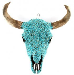 Turquoise Encrusted Buffalo Skull Native American
