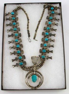 Vintage Sterling Navajo Squash Blossom Necklace