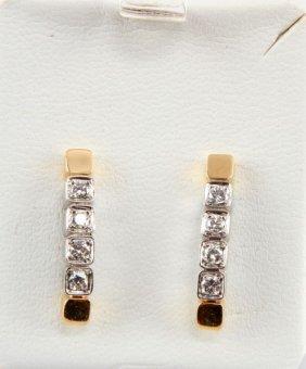 Ladies 18kt Yel Gold & Platinum Diamond Earrings