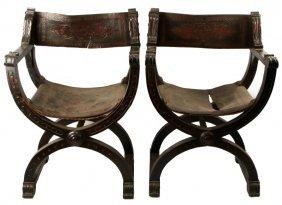 19th C Reniasance Revival Savonarola Chair Pair
