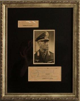 Wwii German Generalfeldmarschall Rommel Autograph