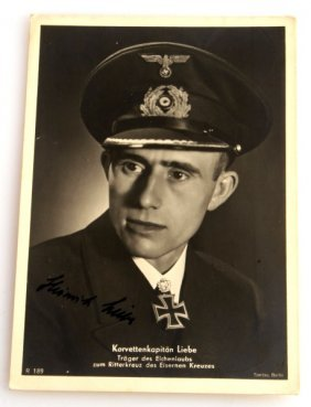Signed Heinrich Liebe Postcard Wwii German Uboat