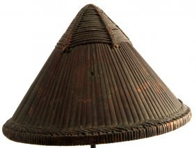 Antique Chinese Bamboo Soldier's Helmet