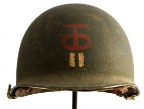 Wwii 90th Div. Tough Ombres M-1 Helmet And Liner