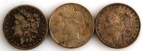 2 Morgan & 1 Peace Silver Dollar Coin Lot