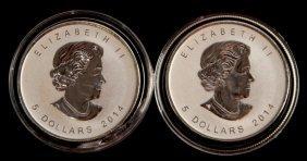 2 2014 Silver Canada 1 Ozt .999 Fine Maple Leaf
