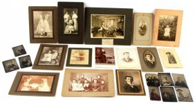 Collection Of Tin Types & Cabinet Photos One Famil
