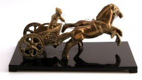 Antique Brass Horse Chariot Unsigned 9 By 4.5 Inch