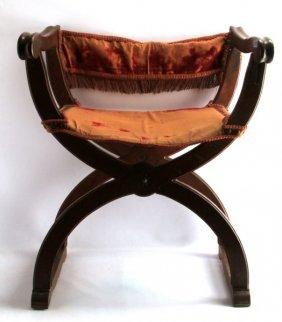 Antique Dupont Italian Walnut Folding Armchair
