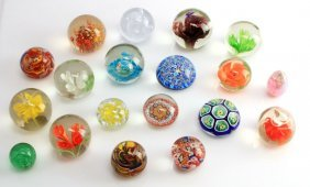 Lot Of Nineteen Glass And Lucite Paperweights
