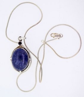 Ladies Sterling Pendant With Lapis And Garnet