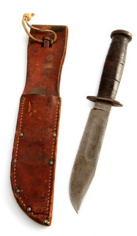 Wwii U.s. Kinfolks Fighting Knife And Scabbard
