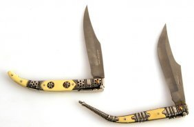 Andujar Ivory Handle Silver Folder Knife Set