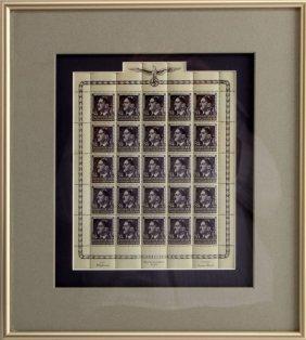 Wwii German Adolph Hitler 25 Stamp Mint Sheet