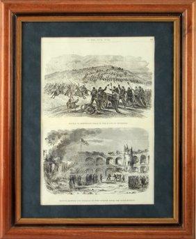 Civil War Engraving Battle In Tenn And Ft. Sumter