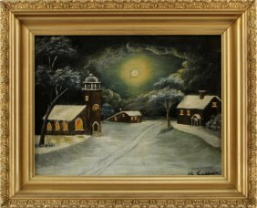 "Signed American Folk Art Painting 10.5"" By 13.75"""