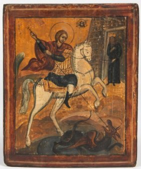 19th Century Russian Icon Of St. George On A Horse