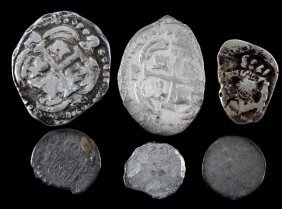 Grouping Of 6 Silver Reale Coins Different Sizes