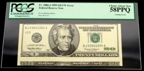 1999 $20 Fw Error Federal Reserve Note Cutting Err