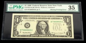 Banknote Error Missing Green Seal Face Pmg Vf-35