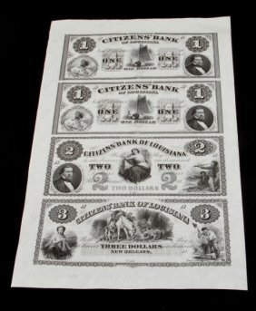 Citizen Bank Of Louisiana Uncut Banknote Sheet 4