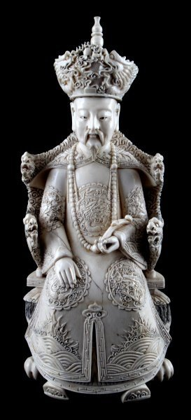 """Large 12"""" Tall Carved Chinese Ivory Emperor"""