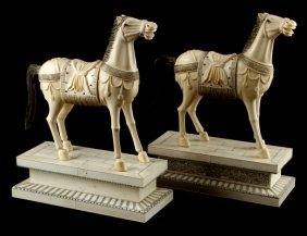 """Pair Of Chinese Ivory Royal Horses Signed 13"""" Tall"""
