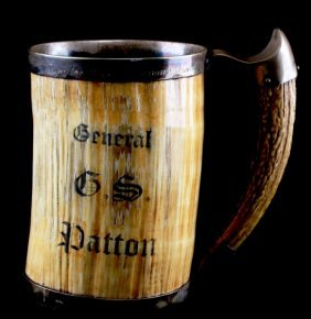 Ivory And Antler Tankard Presented To Gen. Patton